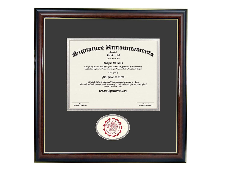 Signature Announcements Robert-Morris-University Undergraduate Professional//Doctor Sculpted Foil Seal Graduation Diploma Frame 16 x 16 Gold Accent Gloss Mahogany