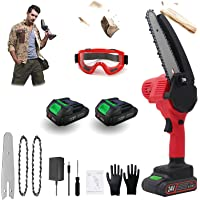 JOVFIO Mini Battery Chainsaw 6 inch Electric Chainsaw with 2 Power Display Battery and 2 Chain, Cordless Handheld…
