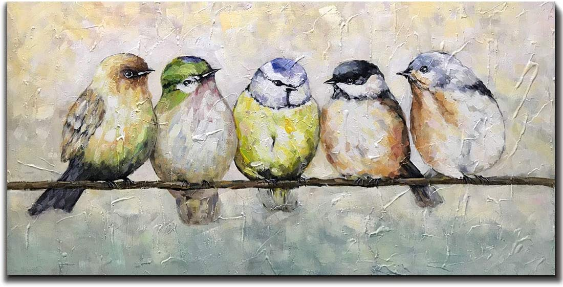 V-inspire Paintings,24x48 Inch Oil Hand Painting Five Birds on The Branch Warm Color Painting Style Home Decoration Wood Inside Framed Ready to Hang…