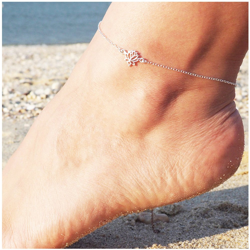 Classic Lotus Shape Anklets for Women Elegant Flower Anklets Plant Chain Link Anklets MINGHUA
