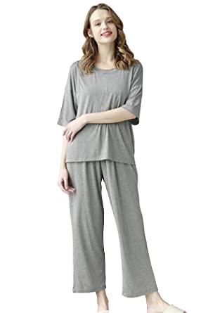 77ae42ddce915 Epinmammy Women's Soft Maternity & Nursing Pajama Set 2 Pcs Pregnancy  Sleepwear, Gray, ...
