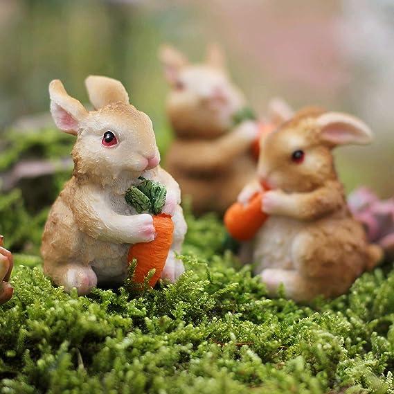 1X mini rabbits craft figurine garden ornament miniature fairy garden decors DJB