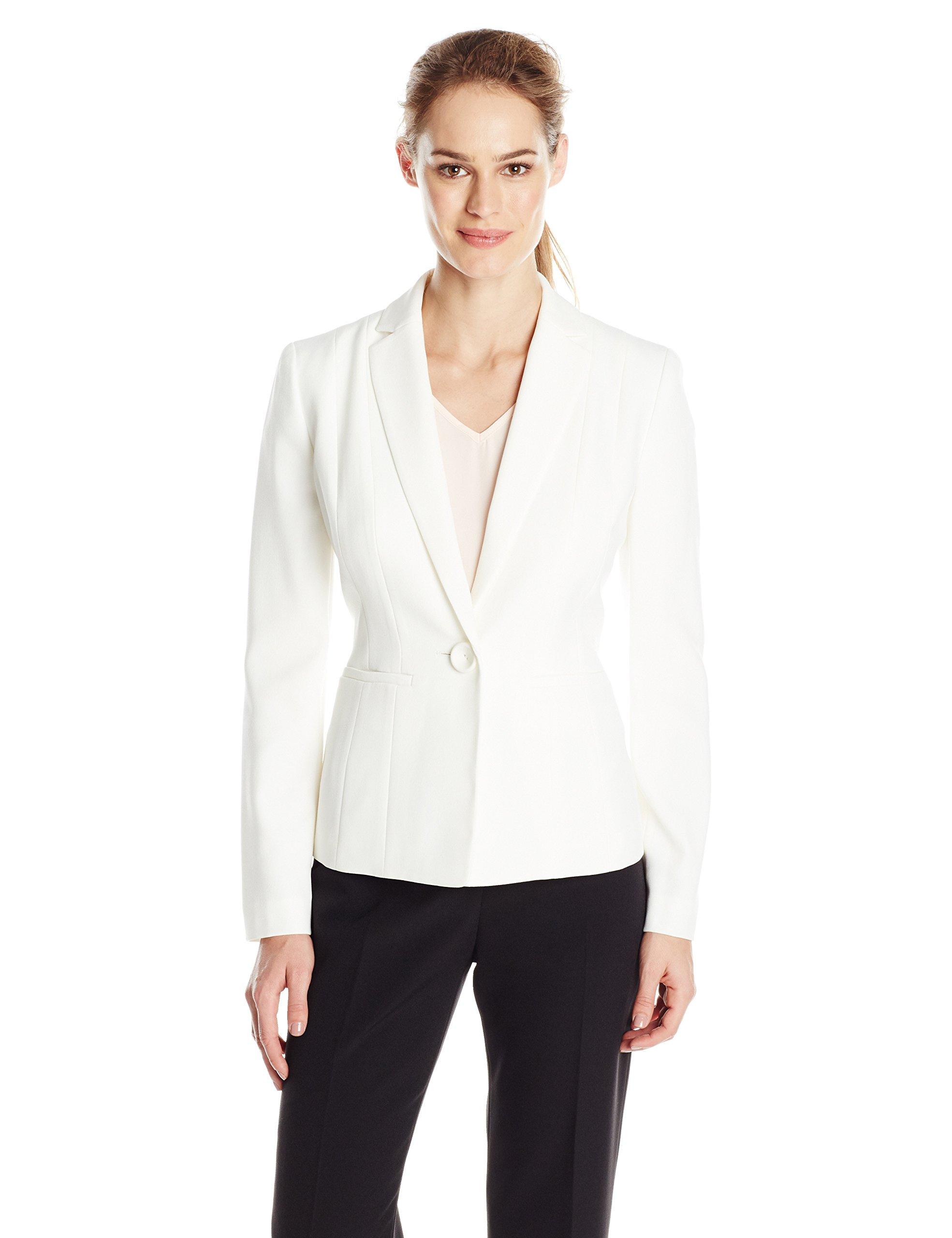 Kasper Women's Stretch Crepe One Button Jacket, Vanilla Ice 8