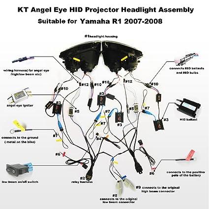 Amazon.com: KT Headlight embly for Yamaha R1 2007-2008 V1 ... on