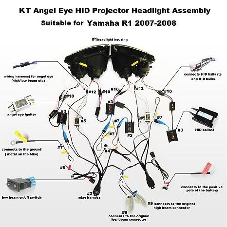 amazon com: kt headlight assembly for yamaha r1 2007-2008 v1 green angel  eye: automotive