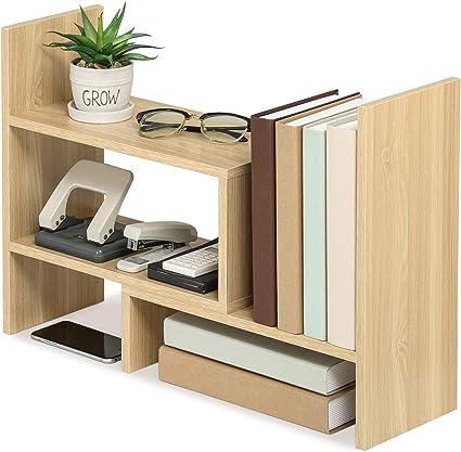 FITUEYES Estantería Organizador de Escritorio DIY Madera Oak Librería Estante de Sobremesa para Oficina Casa 68x17x39cm DT306806WO
