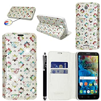 Alcatel Pop 4+ (Pop 4 Plus) (5.5) Funda, Kamal Star® Funda Cuero PU Billetera Folio Carcasa + Stylus (Flower White Diamond Book)