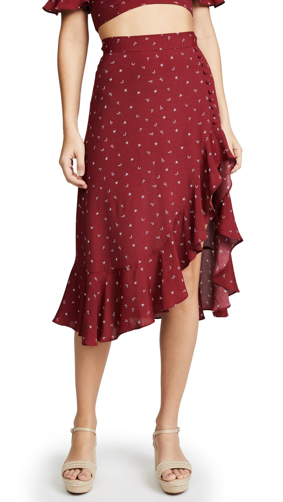 For Love & Lemons Women's LA Lana Midi Skirt, Burgundy, X-Small