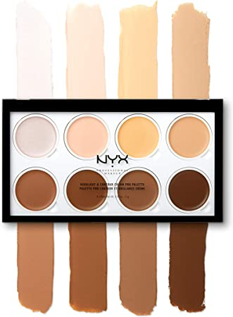 NYX Professional Makeup Paleta de contouring Highlight & Contour Cream Pro Palette, Kit de contouring de 8 sombras de textura cremosa: Amazon.es: Deportes y aire libre