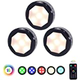 Closet Lights Under Cabinet Lighting, UYICOO 16 Colors RGB Wireless LED Puck Lights Color Changing Night Light for Home Kitch
