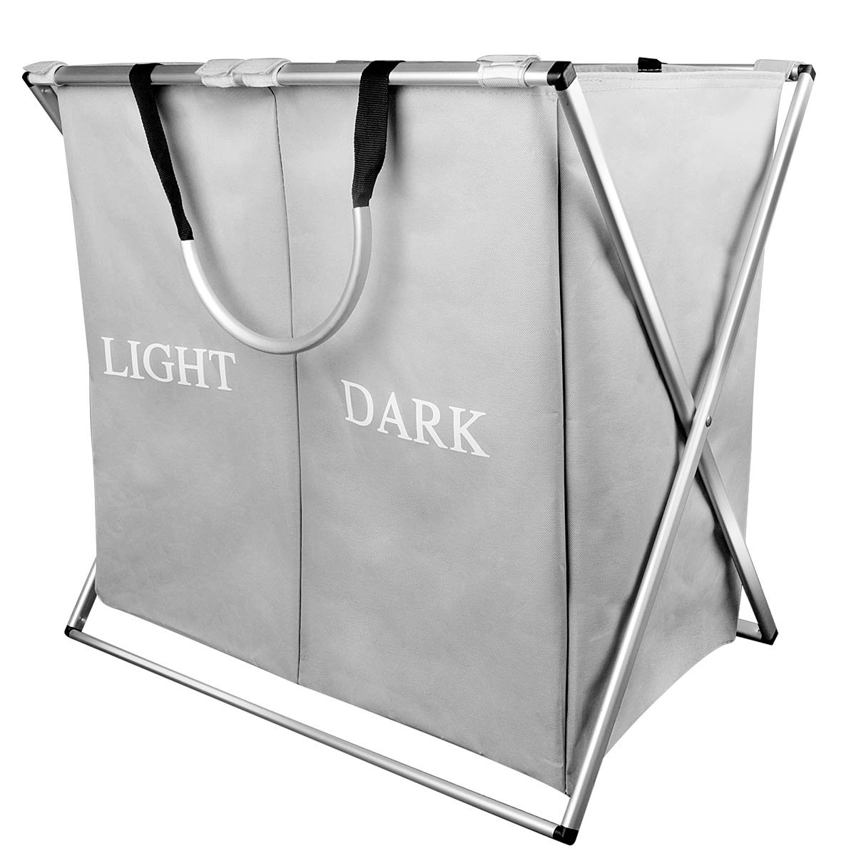 Double Light and Dark Laundry Hamper with Aluminum Frame, 2 Sections Laundry basket, 600D Oxford, 23.2''x 15''x 22.4'' Inches (light gray-2)