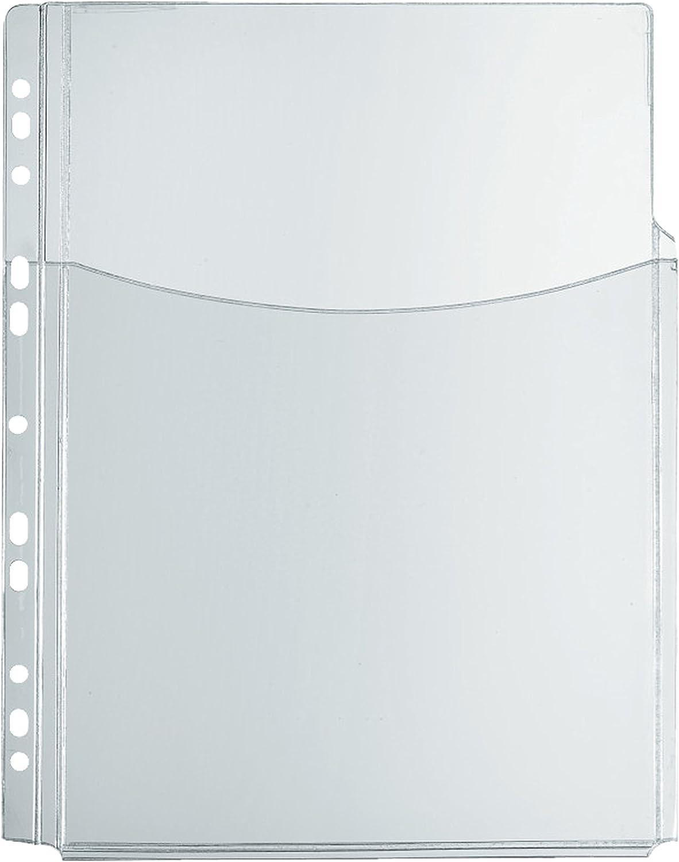 mit Falten f/ür hohes F/üllverm/ögen 1 St/ück Herlitz oben offen transparent Eurolochung PVC-Folie Katalog-Tasche A4