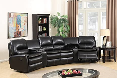 amazon com black leather air 5pc home theatre sectional sofa living