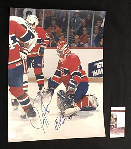 Image Unavailable. Image not available for. Color  Patrick Roy   Jeremy  Roenick Signed Montreal Canadiens ... e66138bb1
