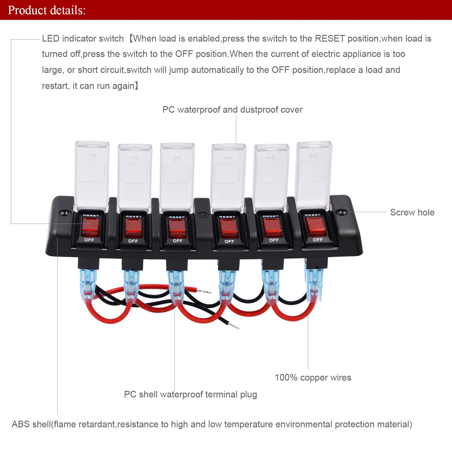 Topten Blade Fuse Box Waterproof Automotive Block With Vehicle Cover Protection And Led Indicator For Car