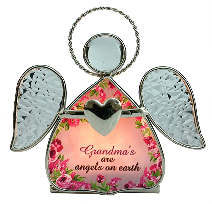 b782414077af Grandma Candle Holder -- Beautiful Glass Angel Tealight Candle Holder with  Flowers and