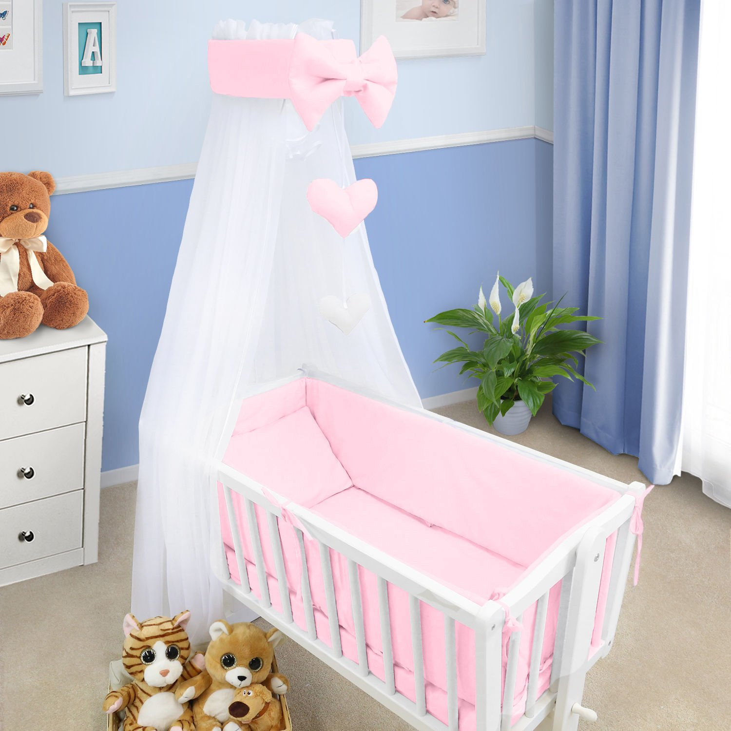 Baby Canopy Crib Drape Mosquito Net With Holder To Fit Crib Pink