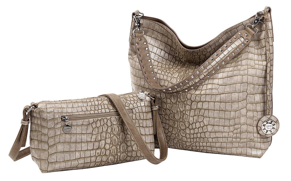 Sydney Love Crocodile Reversible Hobo with Additional Cross Body Bag
