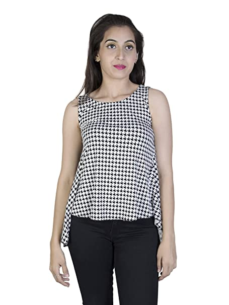 49aa52f0e2 BFF16 Black & White Color Sleeveless Top: Amazon.in: Clothing & Accessories