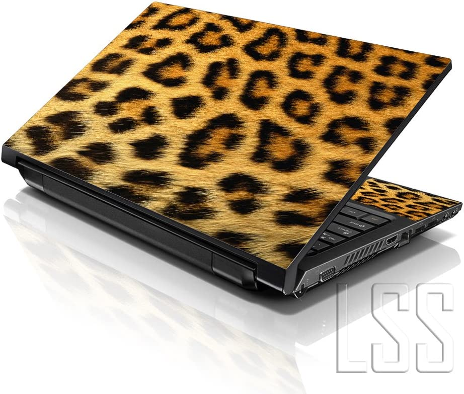 "LSS 15 15.6 inch Laptop Notebook Skin Sticker Cover Art Decal Fits 13.3"" 14"" 15.6"" 16"" HP Dell Lenovo Apple Asus Acer Compaq (Free 2 Wrist Pad Included) Leopard Print"