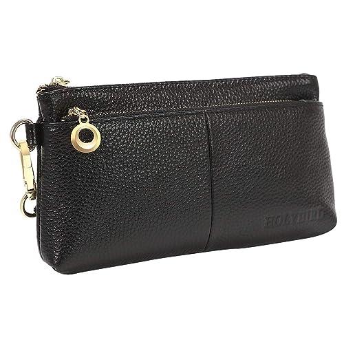 79d35965eb21 Women s RFID Blocking Zipper Wristlet Purse Clutch Wallet Smartphone Large  Handbag Large Travel Bag (Black