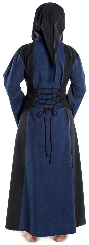 HEMAD Women's Medieval Dress - Hood, Front & Back Lacing, Cotton - L Blue & Black