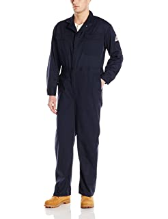 8fae6d5e12ed Bulwark Men s Flame Resistant 9 Oz Twill Cotton Deluxe Coverall with  Concealed Snap Cuff