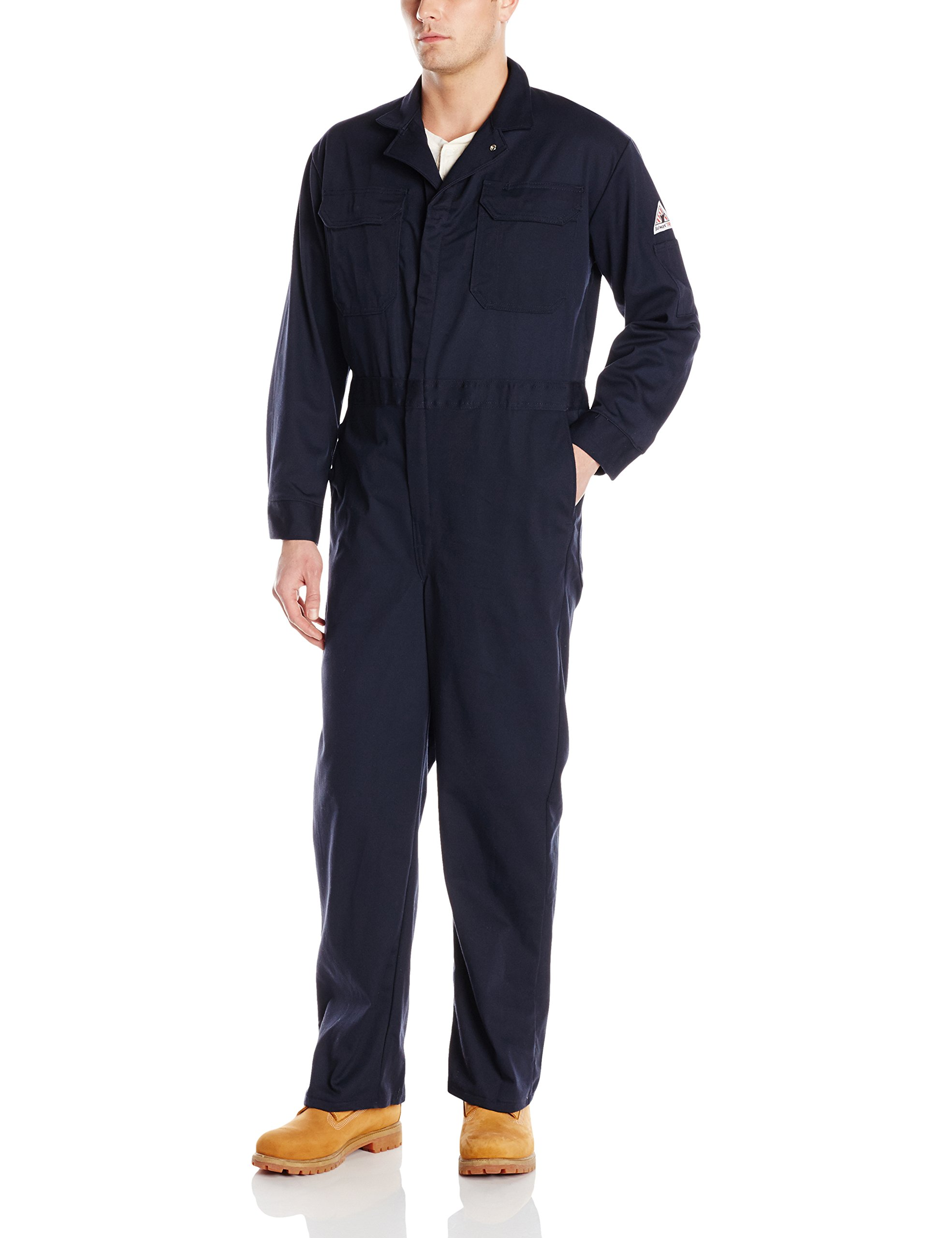 Bulwark Flame Resistant 9 oz Twill Cotton Deluxe Coverall with Concealed Snap Cuff, Navy, 60