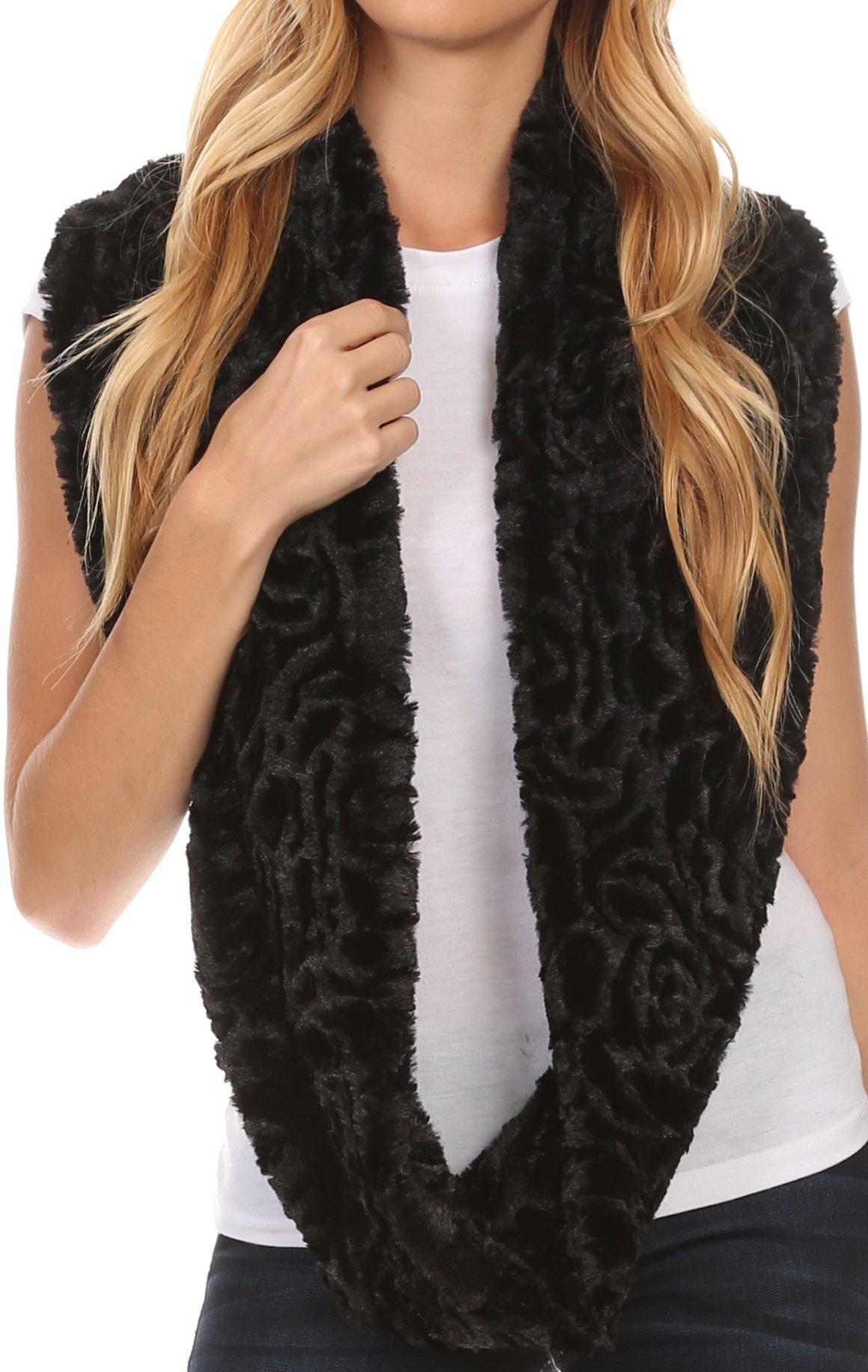 Sakkas 16102 - Mellah Long Wide Soft Fuzzy Furry Fur Infinity Fall Winter Wrap Scarf - Black - OS