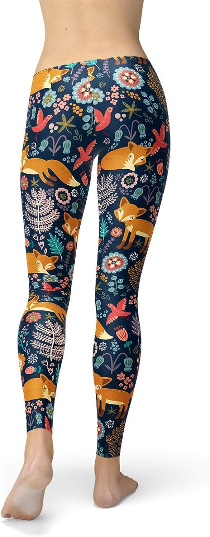 White and Orange geometric fox leggings fox animal patterned trouser bottoms