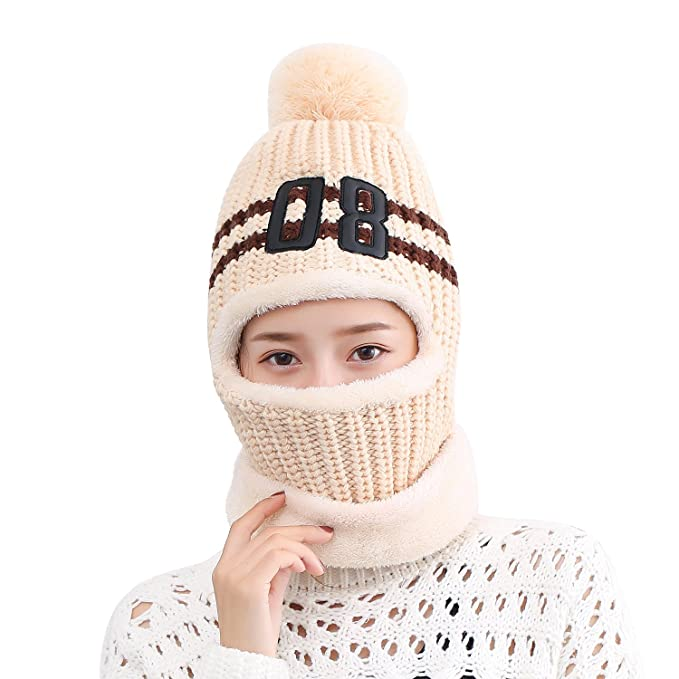 Anatoky Womens Knit Winter Cap with Scarf And Mask Face Cover Wrap ... 52480f169c