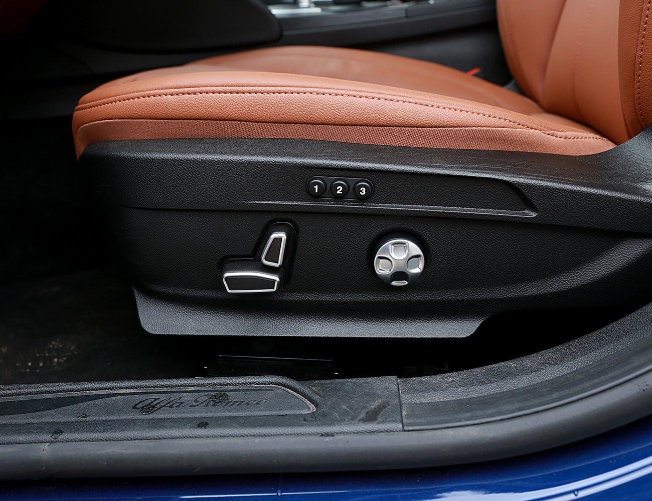 LLKUANG for Maserati Levante 2016 2017 Ghibli 2014-2017 Quattroporte 2013-2017 6pcs/Set ABS Chrome Seat Adjustment Button Cover Trim for Alfa Romeo Giulia Stelvio 2017 2018