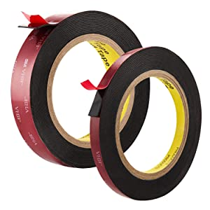 2 Rolls Double Sided Tape Heavy Duty Mounting Tape 2 Sided Adhesive Tape Picture Hanging Strips, Mounting Tape Foam Tape Waterproof Wall Tape for Office Decor, Home Decor, Car Decor, LED Lights