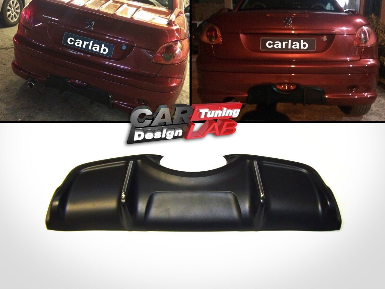 Diffusore paraurti posteriore nero defuser Spoiler CarLab