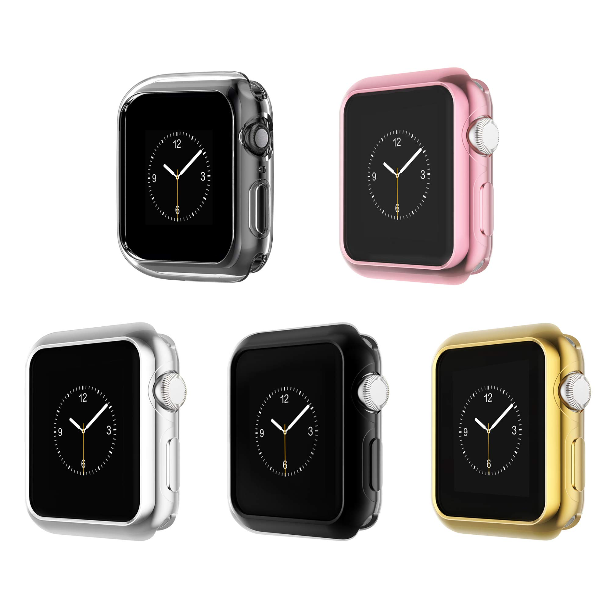 Leotop Compatible with Apple Watch Case 44mm 40mm, Soft Flexible TPU Plated Protector Bumper Shiny Cover Lightweight Thin Guard Shockproof Frame Compatible for iWatch Series 4 (2-5 Color Pack, 44mm)