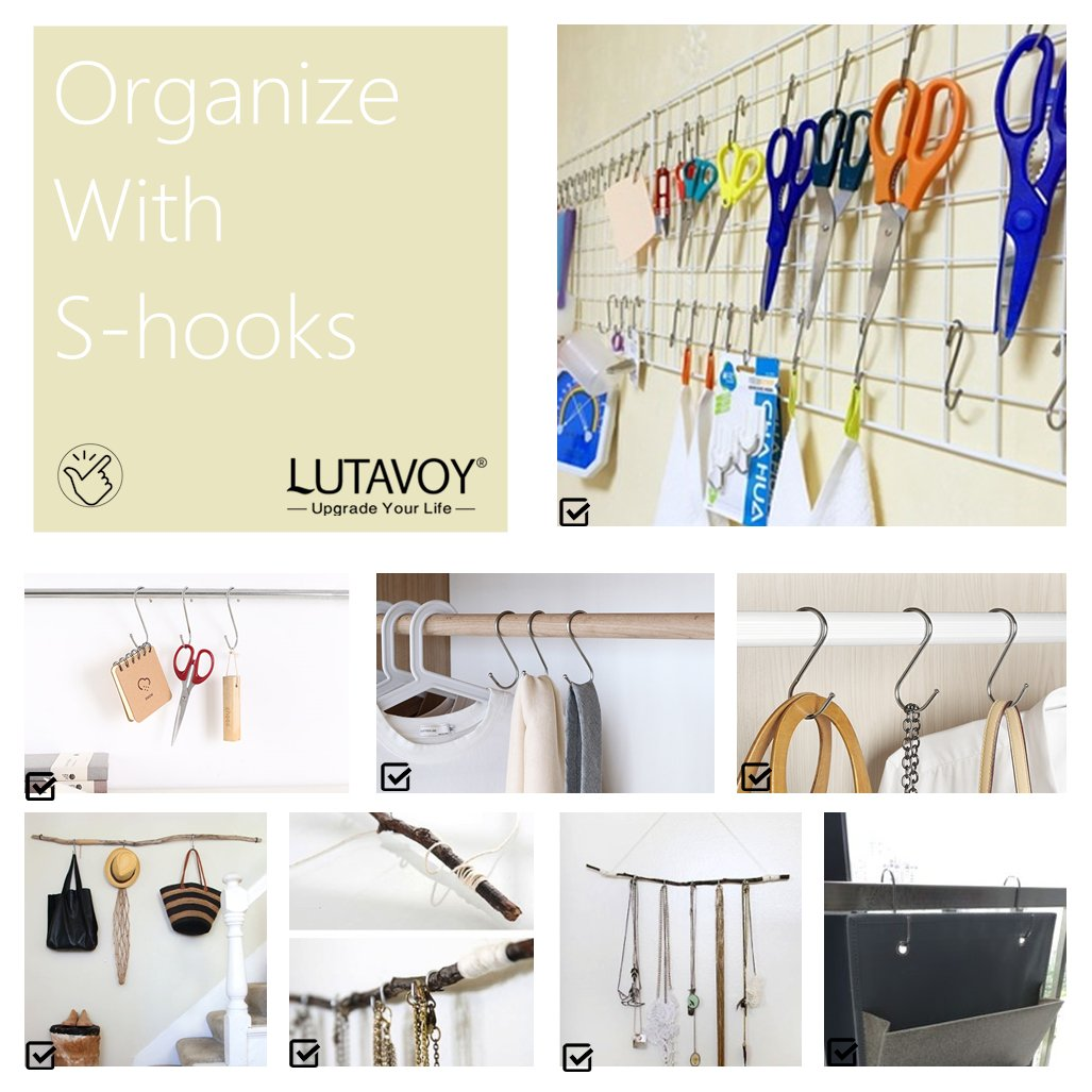 S Hooks S Shaped Hanging Hooks Multiple Use Hangers 24 Pack for Kitchen, Bathroom, Bedroom,Workshop,Office LG23 by LUTAVOY (Image #9)