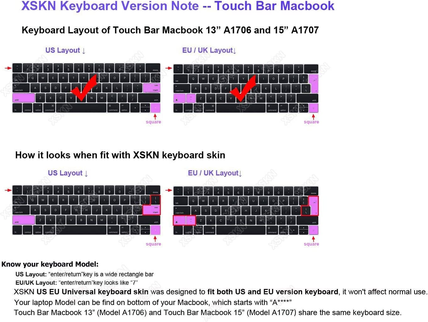 /& MacBook Pro 15 A1707 A1706 US EU Layout XSKN Mac Logic Pro X English Shortcut Functional Hotkey Design Silicone Keyboard Skin Cover for 2016 Touch Bar MacBook Pro 13