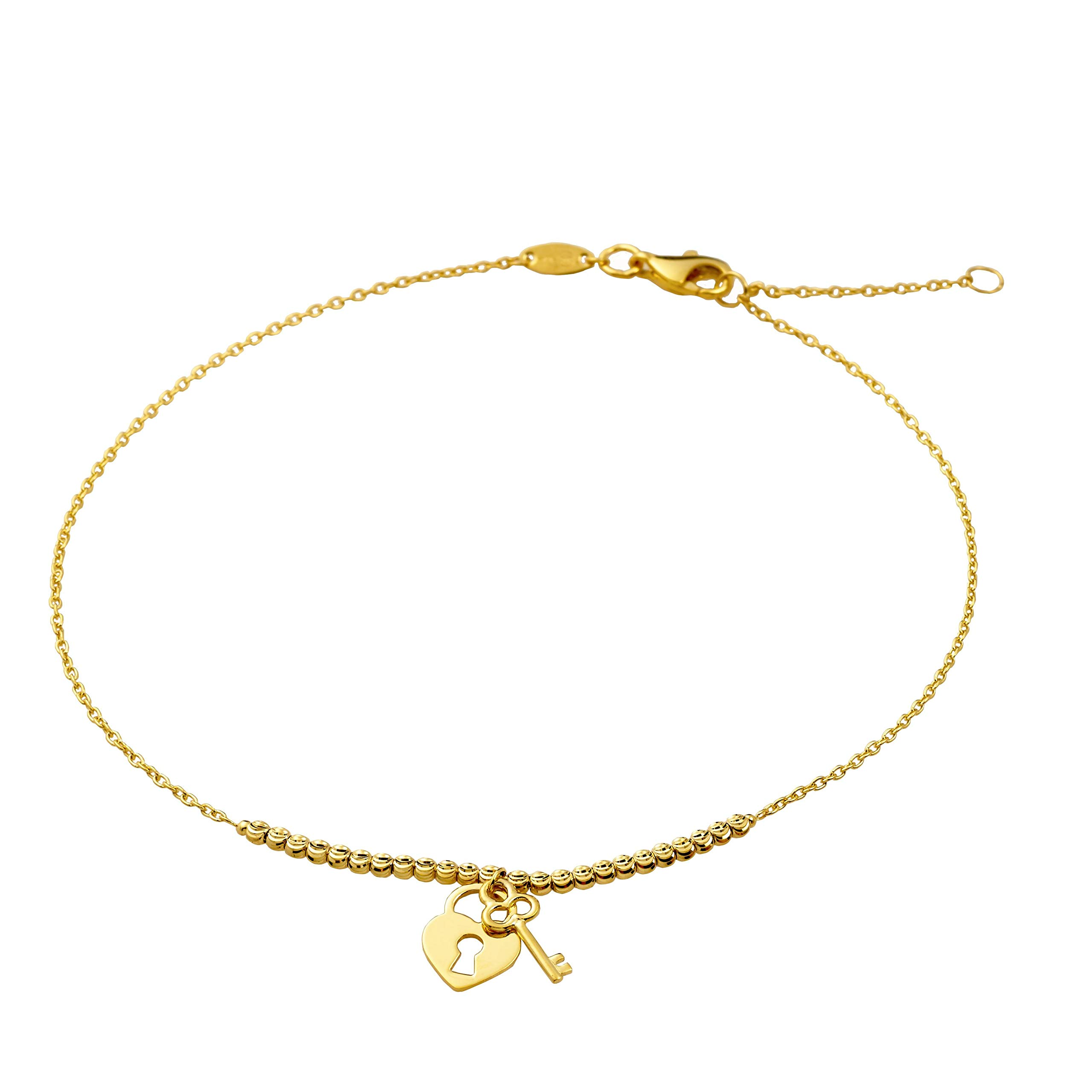 LoveBling 10K Yellow Gold .5mm Diamond Cut Beads and Heart Lock & Key Charm Anklet Adjustable 9'' - 10'' (#71)