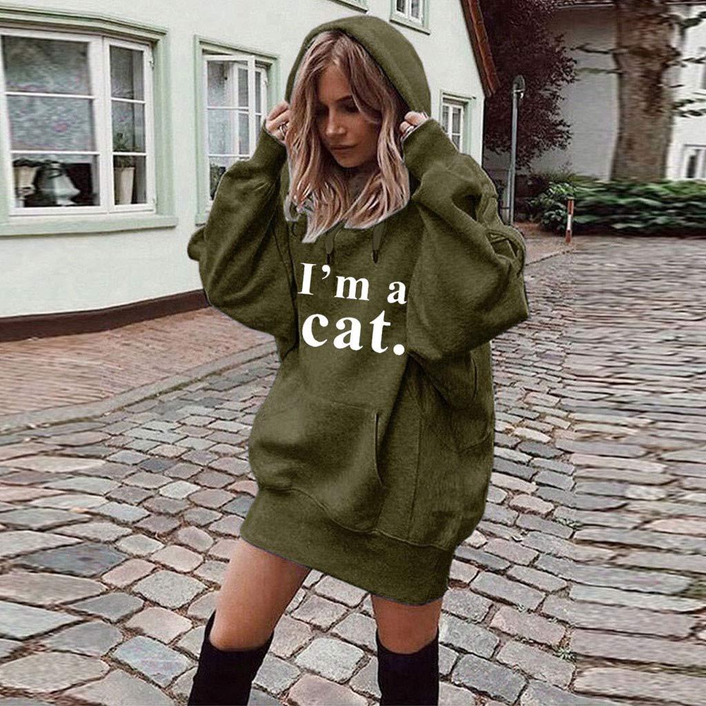 """MEIbax Pullover Donna Invernale Maglione Felpa con Cappuccio Gatto Maniche Lunghe con Coulisse e Tasca Camicette Stampa /""""Im a Cat/"""" Cappotti Moda Giacche"""