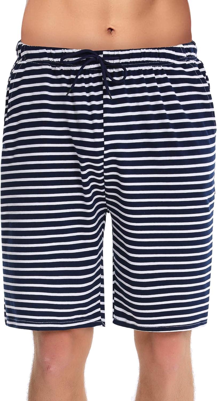 Raya Cintura el/ástica Ajustable pantal/ón Dormir de casa,Sal/ón Shorts con Bolsillos Verano Irevial Pantalones Cortos de Pijama para Hombre Algodon