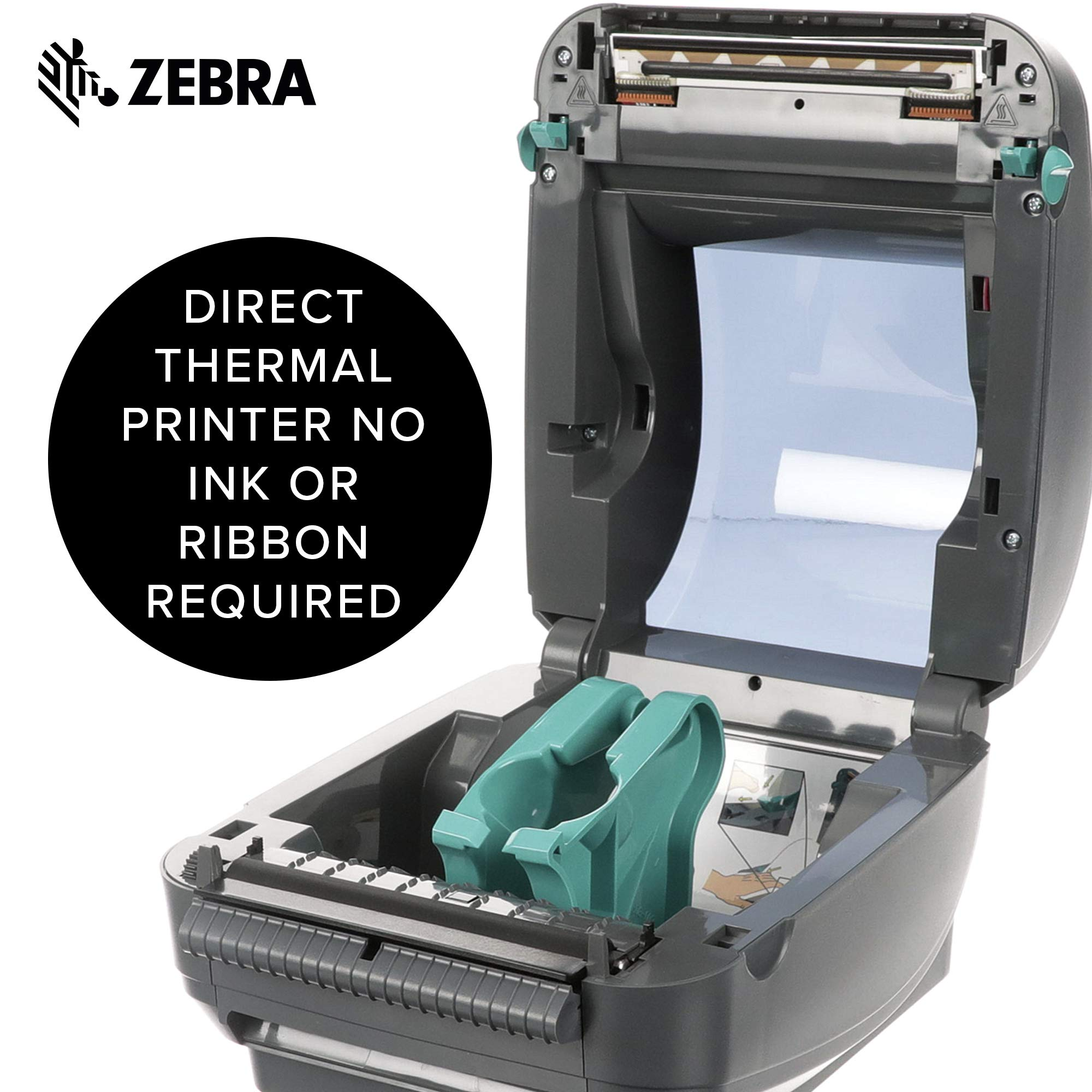 Zebra - GX420d Direct Thermal Desktop Printer for Labels, Receipts, Barcodes, Tags, and Wrist Bands - Print Width of 4 in - USB, Serial, and Ethernet Port Connectivity (Includes Peeler) by ZEBRA (Image #4)