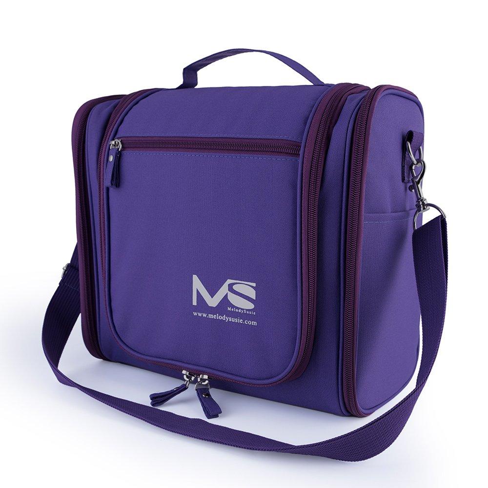 Large Hanging Travel Toiletry Bag - MelodySusie Heavy Duty Waterproof Women's Makeup Organizer Bag Men's Shaving Kit Toiletry Bag for Travel Accessories, Shampoo, Cosmetic, Personal Items (Purple)