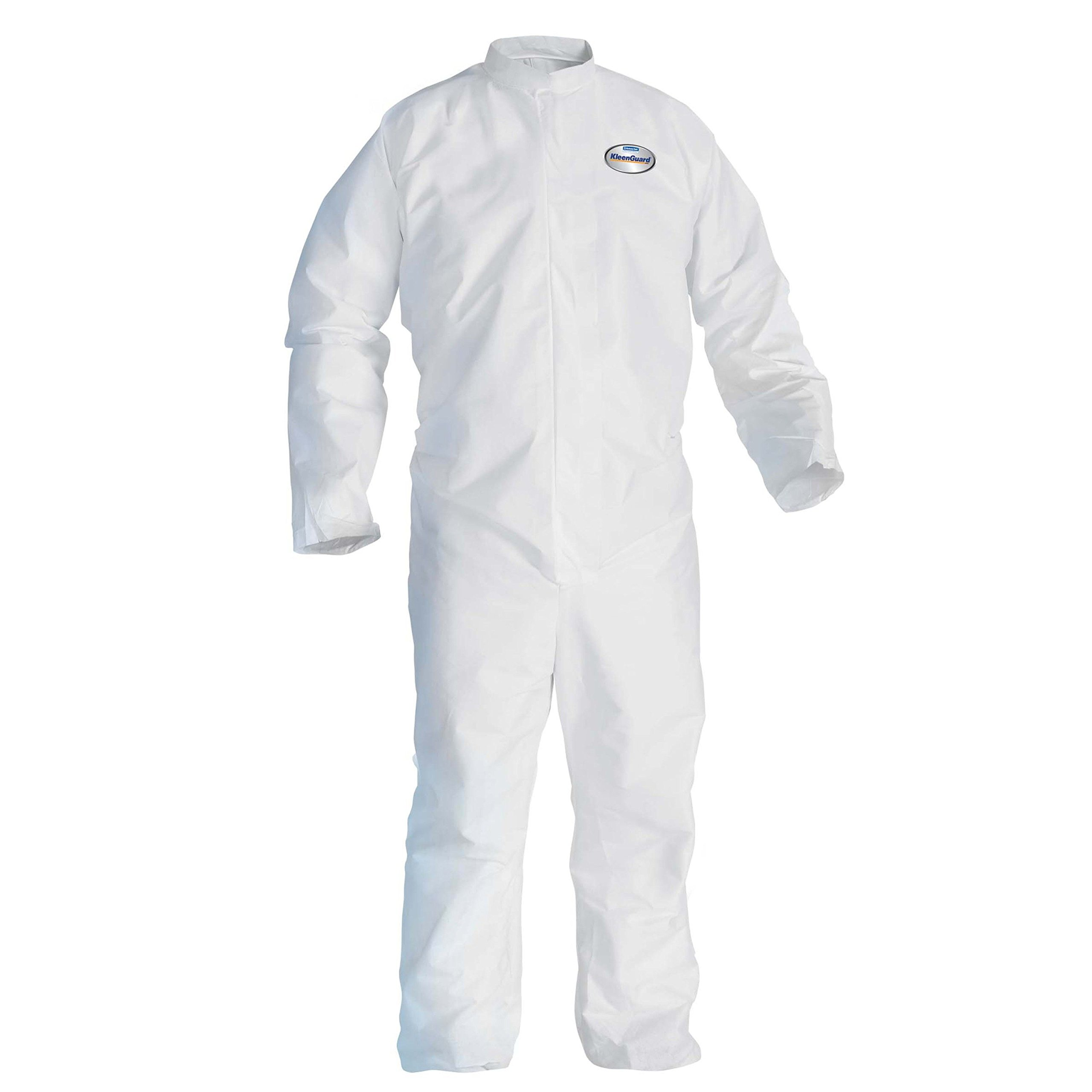 Kleenguard 46003 A30 Breathable Splash Particle Protection Coveralls, 0.5 Height, 16 Length, 12 Width, Micro Force barrier SMS fabric, White, Large (Pack of 25)