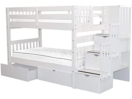 2842f6c3900cd6 Bedz King Stairway Bunk Beds Twin over Twin with 3 Drawers in the Steps and  2