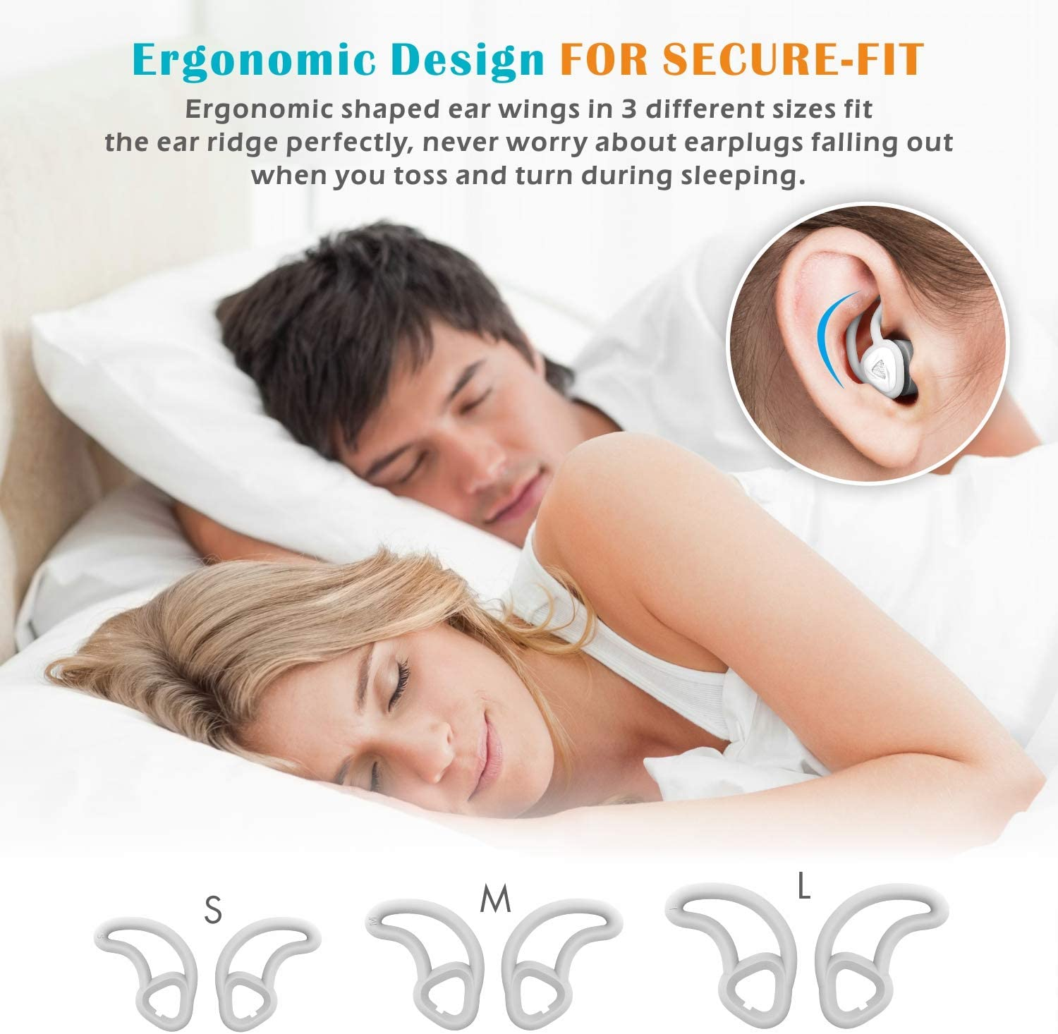 2020 New Design Work and Noise Reduction snoring 33db Hearprotek Noise Cancelling Sound Blocking Soft Sleep earplugs with Foam eartips for Side Sleepers Ear Plugs for Sleeping