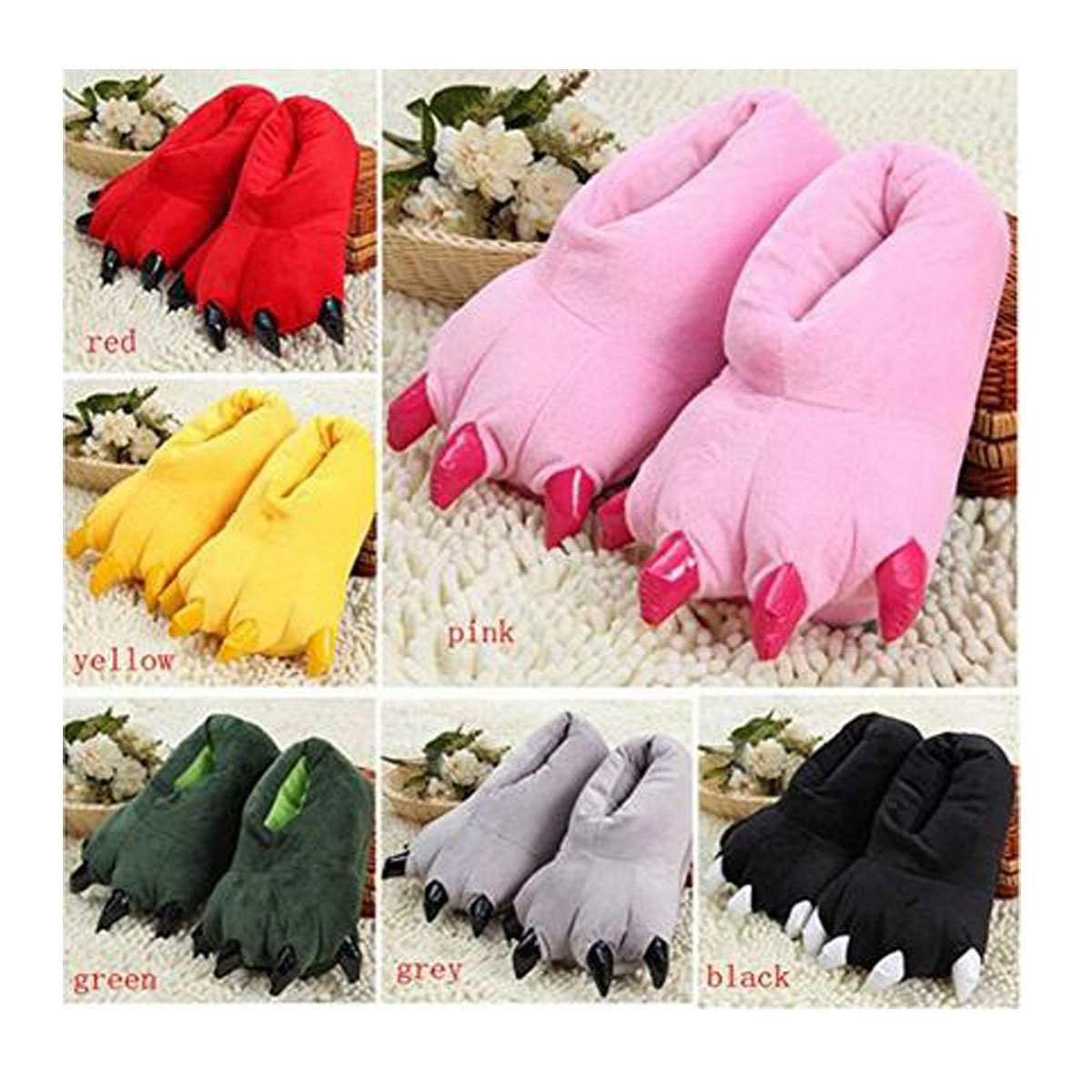 Cute bear paws slippers, winter home warm anti-slip cotton slippers black)