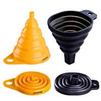 Deiss® ART Silicone Collapsible Funnel Set - Rounded & Squared Foldable Funnels - Food Grade, BPA-free, Dishwasher Safe - Set of 2