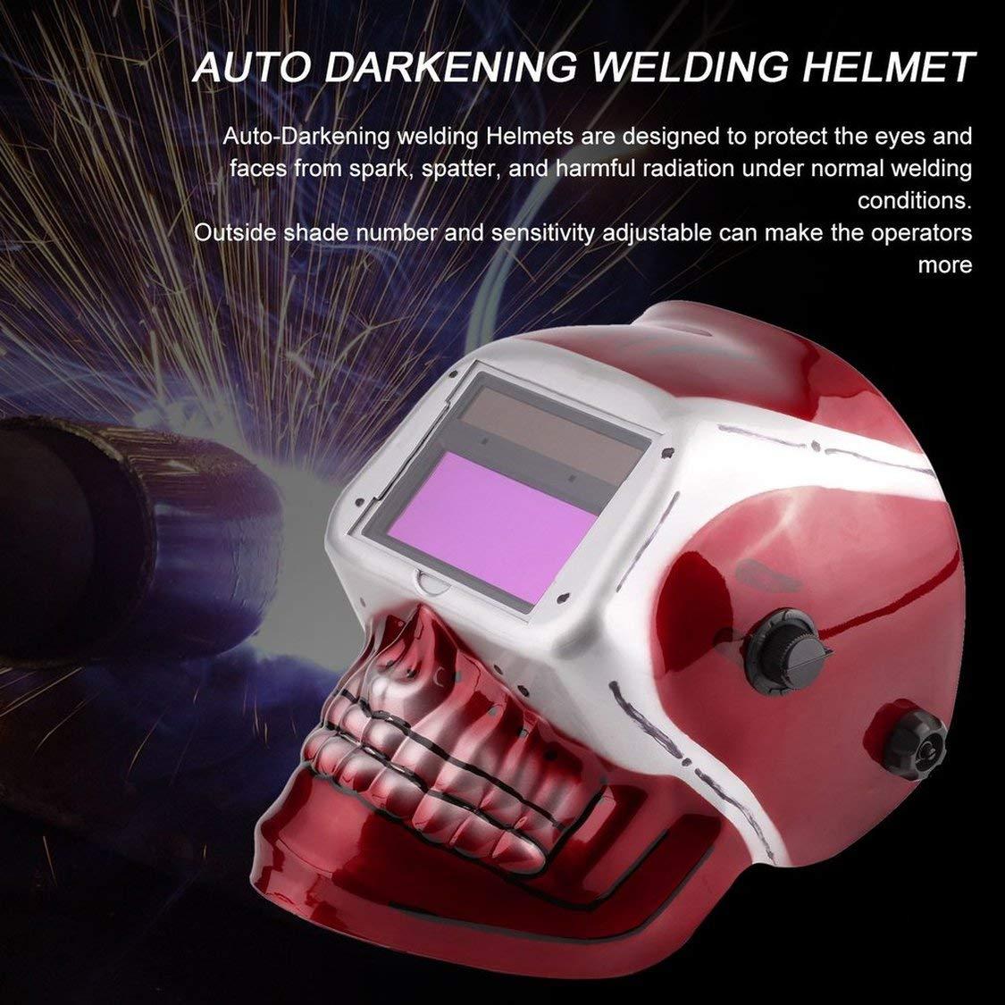 Solar Powered Pro Auto Darkening Saldatura Casco Arc Tig Mig Maschera di saldatura rettifica con modello di cranio rosso