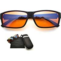 Merci Blue Light Blocking Fit Over Computer Glasses to wear with or without reading glasses, Amber 98% filter lens for genuine results when gaming, using computer or mobile phone, reduced eyestrain and improved sleep