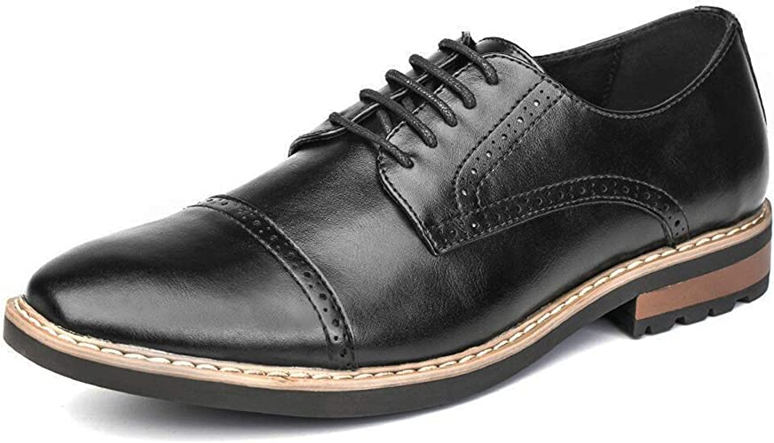 New Plain Toe Dress Casual Oxford Lace Up Shoes Black Brown